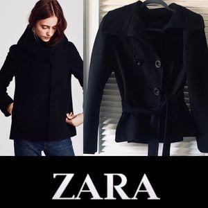 Zara wool double breasted tie short pea coat L